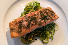 Oven Baked Salmon with Soy Zucchini Noodles